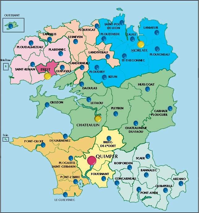 Carte des Cantons du Finistère (couleurs)