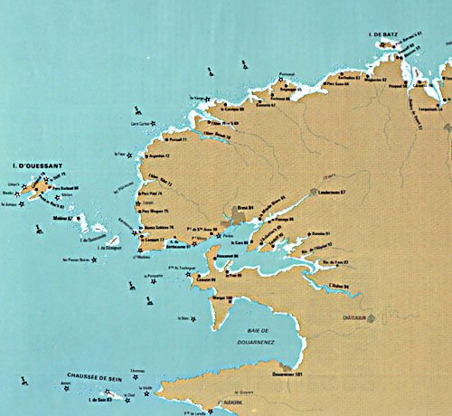 Carte du Finistère: phares
