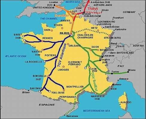 Carte France Tgv Carte de France du Réseau